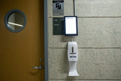 Hand sanitizer dispenser at the Chemistry Building